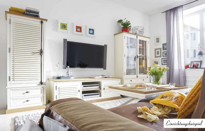 Wohnwand Wohnzimmer Set Pinie Wildeiche Massiv Antikweiß Shabby