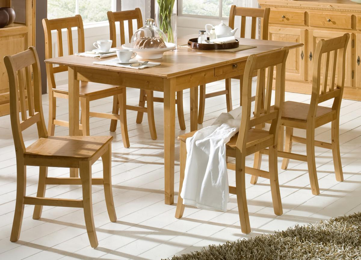 Tischgruppe Sitzgruppe Esszimmer Fichte Massiv Landhaus Provence Vintage Antik 1