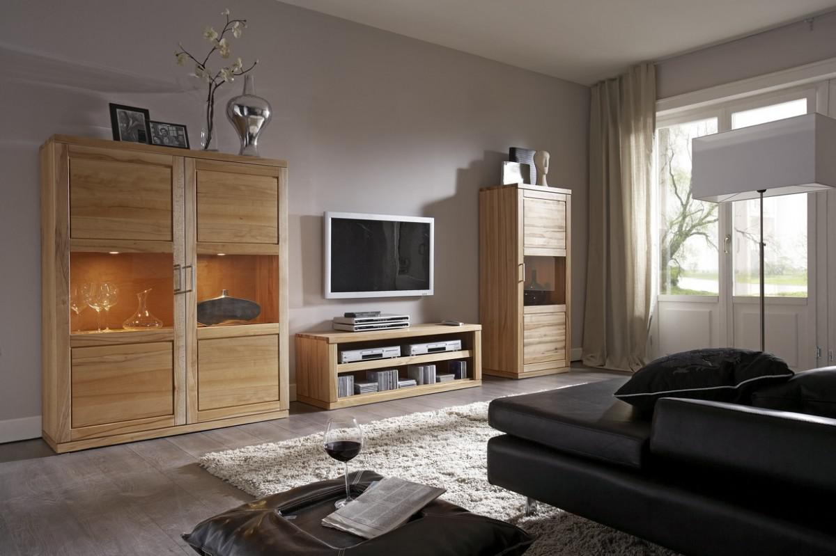 wohnwand wohnzimmerwand wohnzimmerset kernbuche massiv ge lt natur kaufen bei saku system. Black Bedroom Furniture Sets. Home Design Ideas