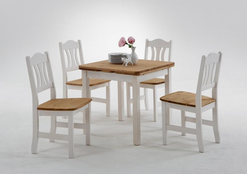 Tischgruppe Küche Esszimmer Set Kiefer Massiv Weiß Laugenfarbig
