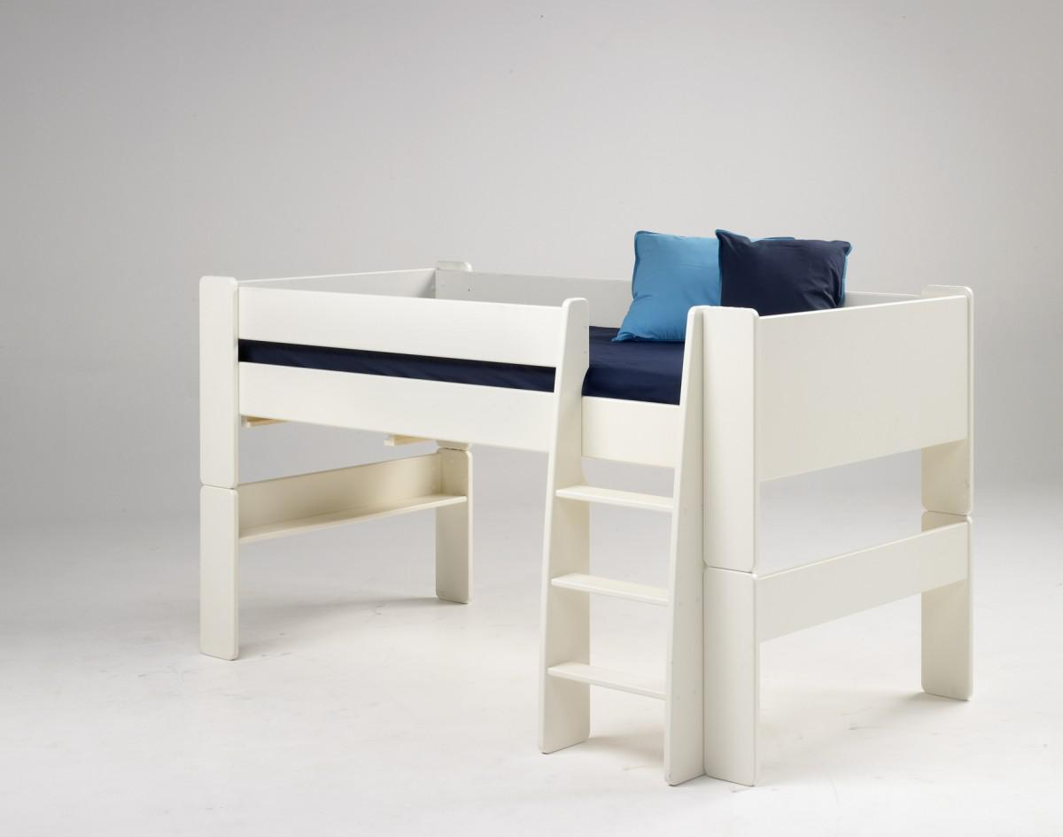 kinderbett hochbett bett mit tunnel vorhang blau mdf wei. Black Bedroom Furniture Sets. Home Design Ideas