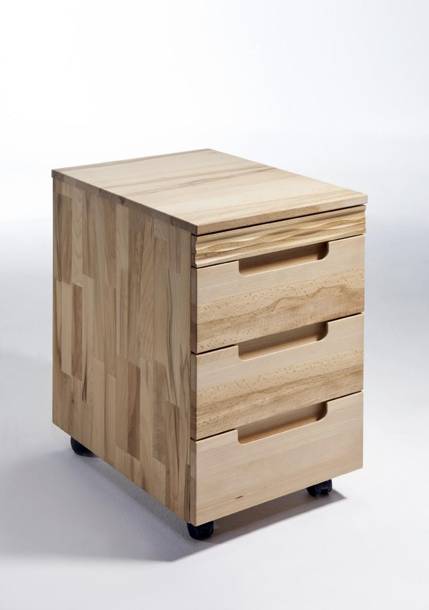 schreibtisch mit rollcontainer kernbuche massiv ge lt made. Black Bedroom Furniture Sets. Home Design Ideas