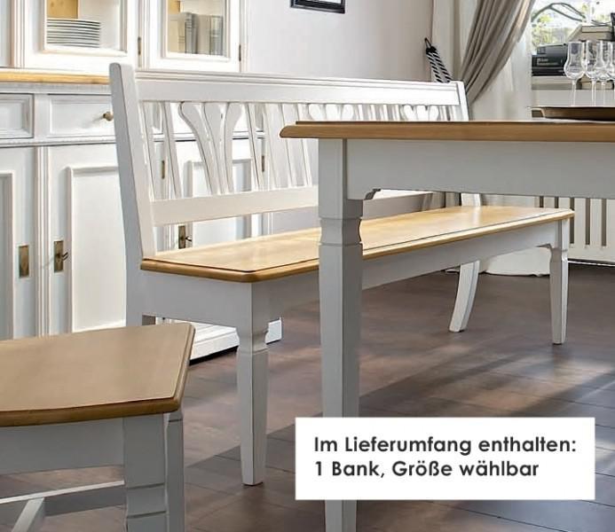 Bank Sitzbank Beistellbank Küche Esszimmer Fichte massiv weiß antik ...