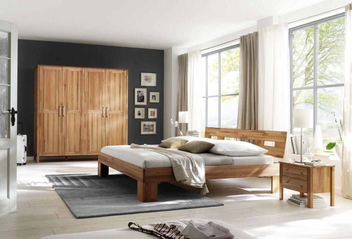 Schlafzimmer Komplett Set Kernbuche massiv geölt Kleiderschrank Bett ...