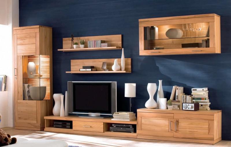 wohnwand wohnzimmer tv board wandboard vitrine h ngeschrank kernbuche massiv kaufen bei saku. Black Bedroom Furniture Sets. Home Design Ideas