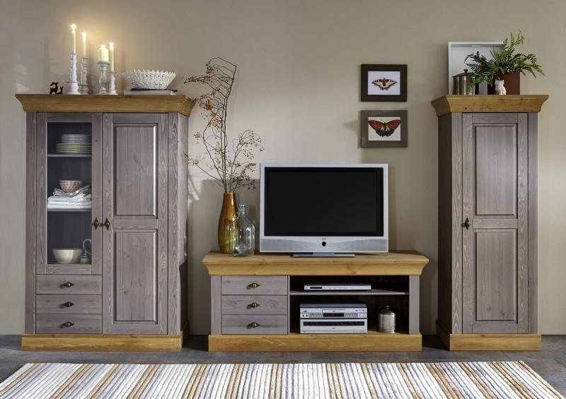 wohnwand wohnzimmer set wohnzimmerset kiefer massiv grau laugenfarbig kaufen bei saku system. Black Bedroom Furniture Sets. Home Design Ideas