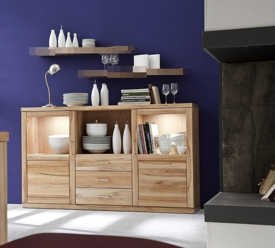sideboard vitrine anrichte esszimmer wohnzimmer kernbuche. Black Bedroom Furniture Sets. Home Design Ideas