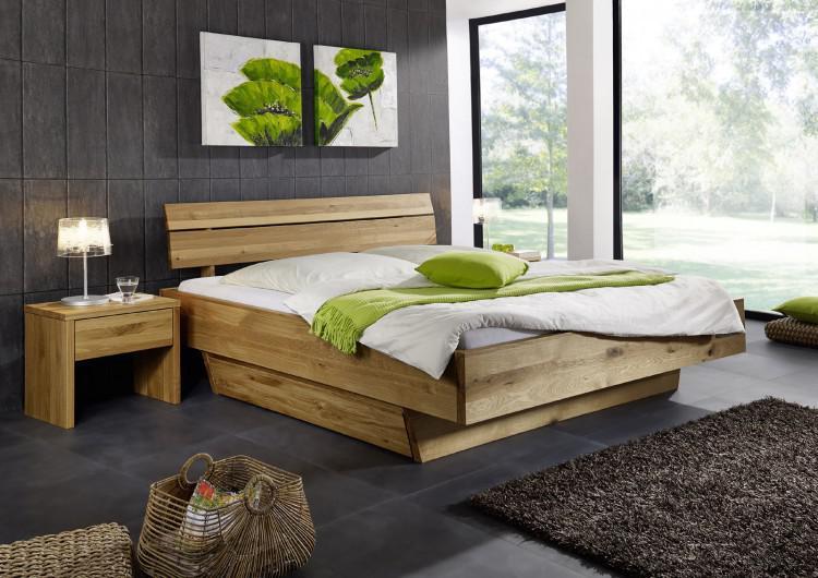 Doppelbett Bett Holzbett Wildeiche Massiv Schlafzimmer Balken