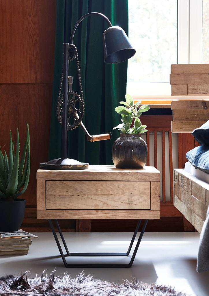 nachttisch kommode nachtkonsole nachtkommode beistelltisch eiche massiv metall kaufen bei saku. Black Bedroom Furniture Sets. Home Design Ideas
