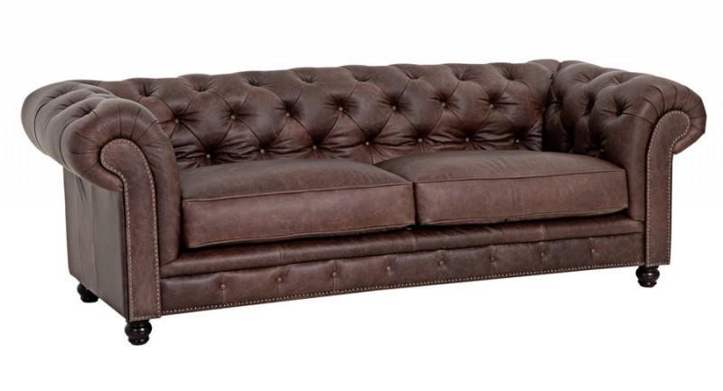 Sofa Couch Ledersofa 2 5 Sitzer Leder braun vintage used