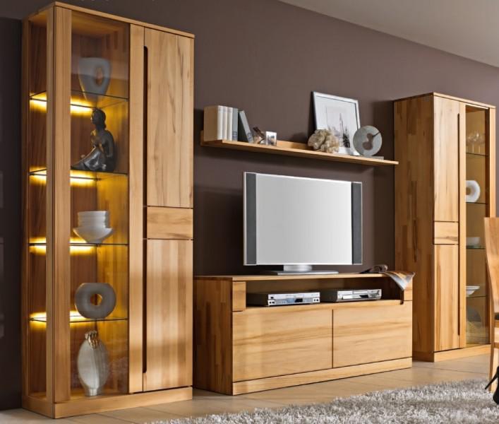 wohnwand wohnzimmerwand vitrine lowboard kernbuche massiv ge lt made in germany kaufen bei. Black Bedroom Furniture Sets. Home Design Ideas