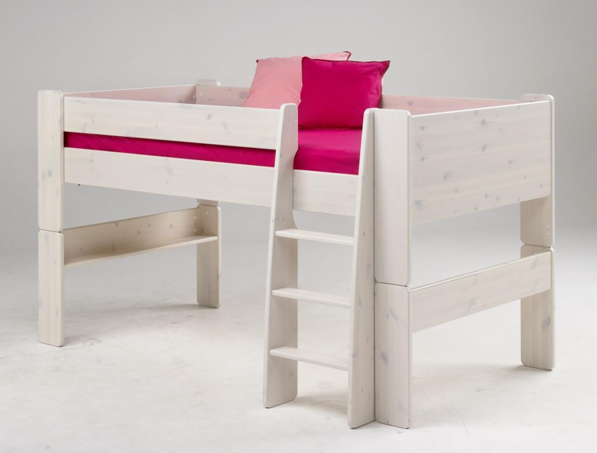 bett kinderbett halbhoch hochbett jugendbett kiefer massiv white wash wei kaufen bei saku. Black Bedroom Furniture Sets. Home Design Ideas