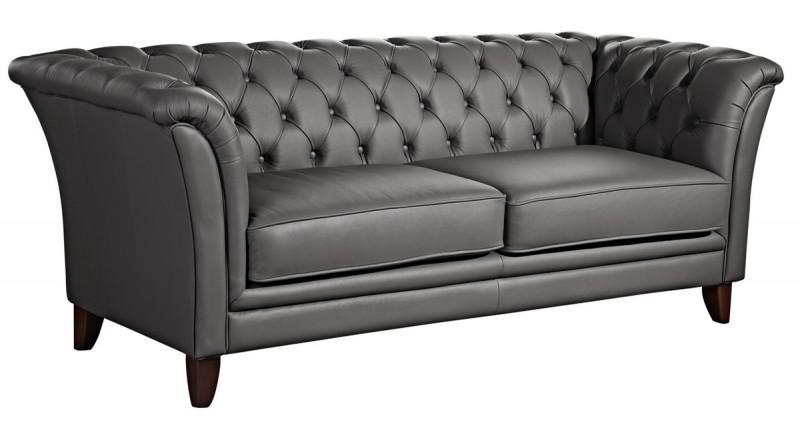 sofa couch 2 5 sitzer ledersofa leder grau stein graphit chesterfield echtleder kaufen bei. Black Bedroom Furniture Sets. Home Design Ideas