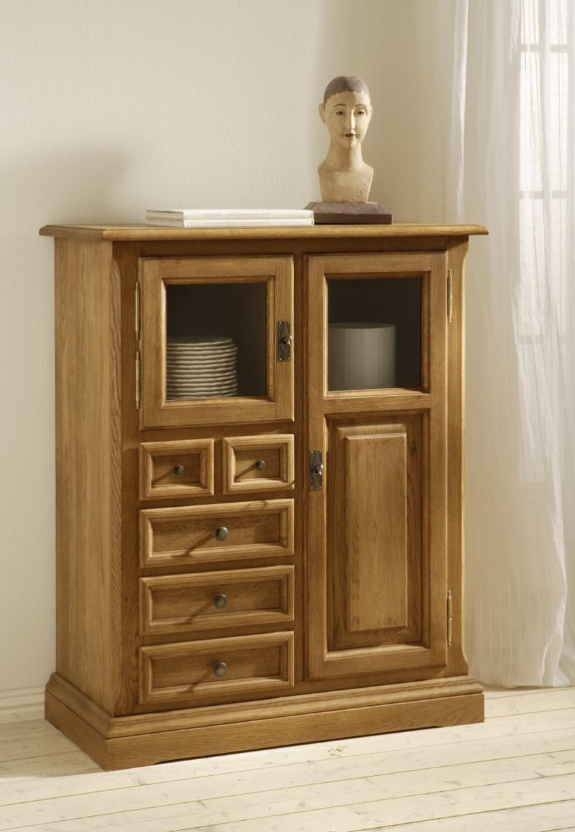 beistellschrank highboard anrichte schr nkchen eiche massiv lackiert braun kaufen bei saku. Black Bedroom Furniture Sets. Home Design Ideas
