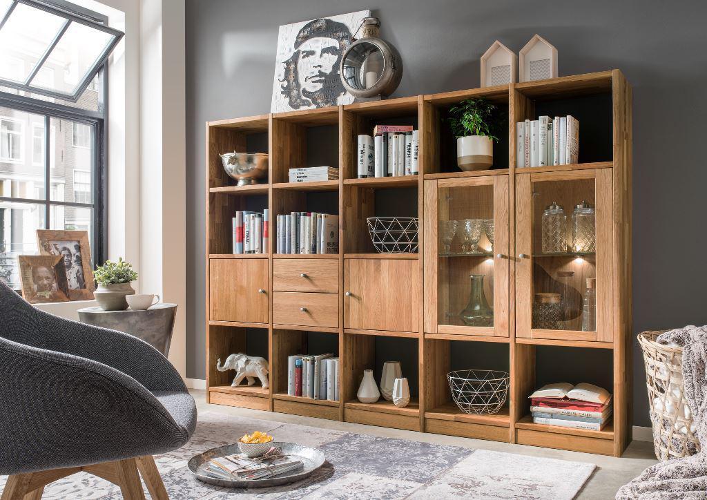 regalkombination anbauwand wohnwand wildeiche massiv b cherwand t ren schubladen kaufen bei. Black Bedroom Furniture Sets. Home Design Ideas