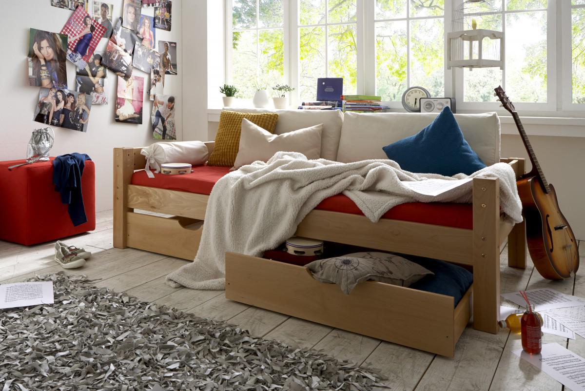 schubladenbett kinderbett buche massiv jugendbett. Black Bedroom Furniture Sets. Home Design Ideas