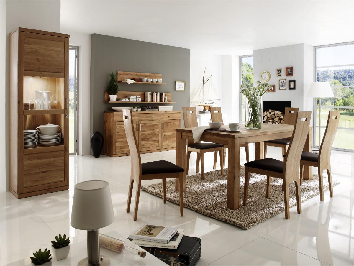 esszimmer einrichtung essgruppe vitrine sideboard eiche wildeiche massiv ge lt kaufen bei saku. Black Bedroom Furniture Sets. Home Design Ideas