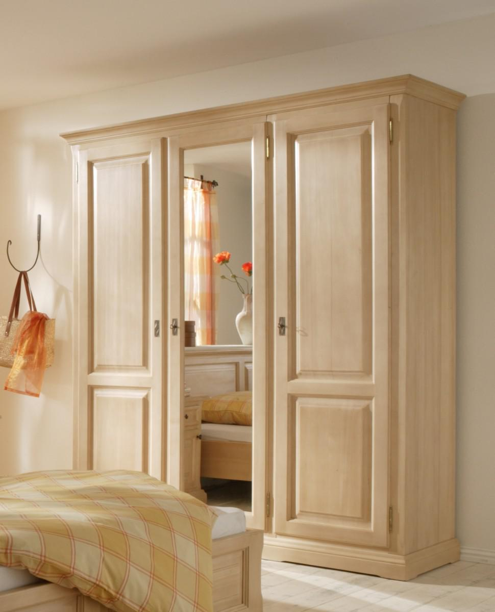 schrank kleiderschrank 3 t rig spiegelt r schlafzimmer fichte massiv gewachst kaufen bei saku. Black Bedroom Furniture Sets. Home Design Ideas