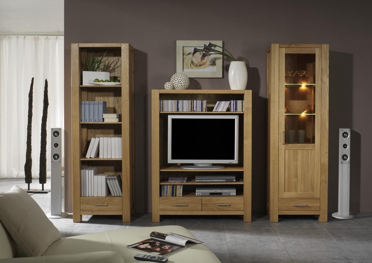 wohnwand wohnzimmerwand b cherregal vitrine tv regal eiche massiv ge lt natur kaufen bei saku. Black Bedroom Furniture Sets. Home Design Ideas