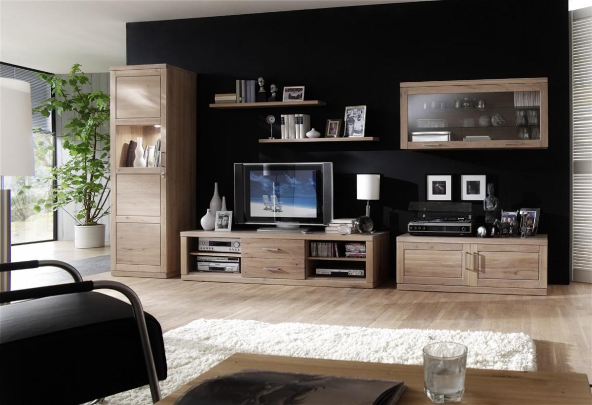 Wohnwand wohnzimmerwand wohnzimmer wildeiche ge lt wei for Moderne wohnzimmerwand