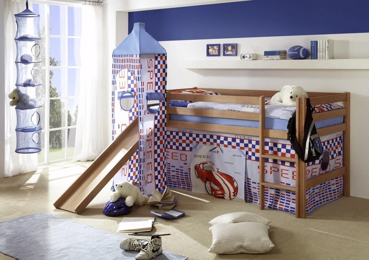 hochbett kinderbett bett etagenbett rutsche turm vorhang buche