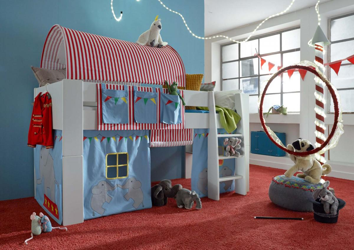 hochbett kinderbett zirkus blau tunnel vorhang kinderzimmer kiefer massiv kaufen bei saku. Black Bedroom Furniture Sets. Home Design Ideas