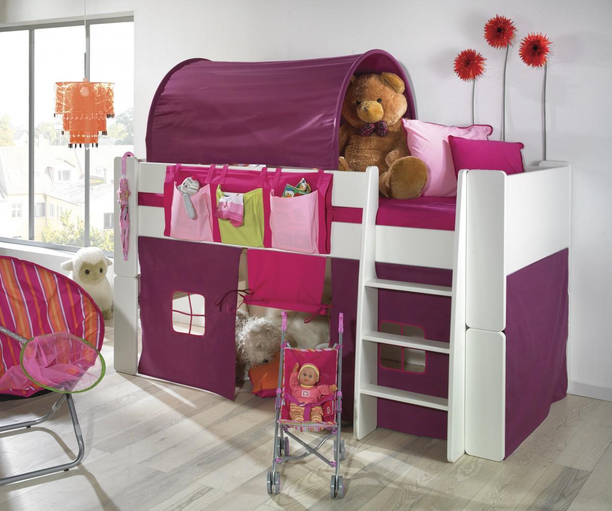 Schön Bett Halbhoch Foto Von Kinderbett Hochbett Tunnel Vorhang Lila Pink Mdf