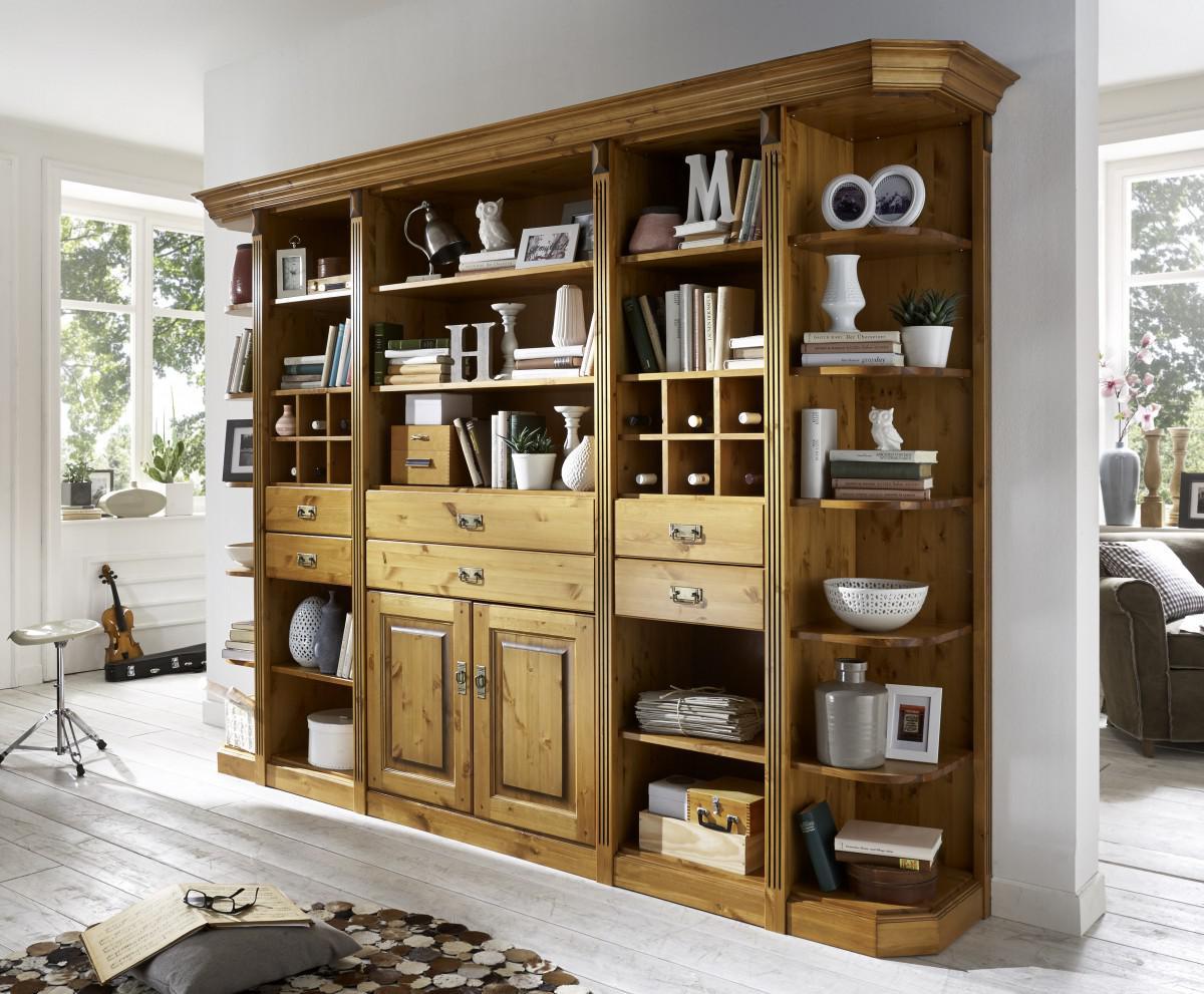 bibliothek wohnwand kiefer massiv goldbraun landhaus individuell wohnzimmer kaufen bei saku. Black Bedroom Furniture Sets. Home Design Ideas