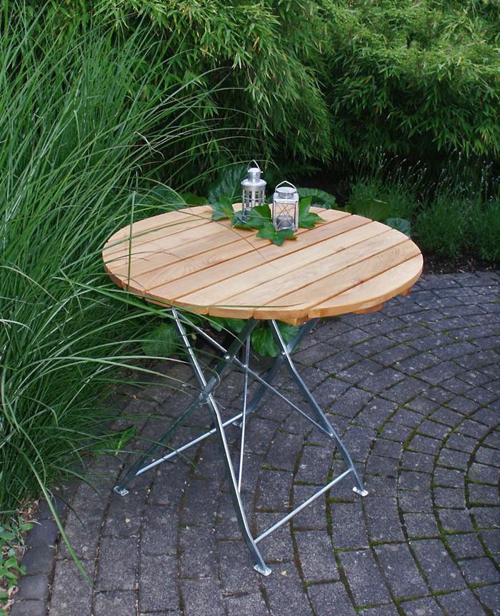 gartentisch klapptisch tisch rund gartenm bel biergarten robinie mit stahl kaufen bei saku. Black Bedroom Furniture Sets. Home Design Ideas
