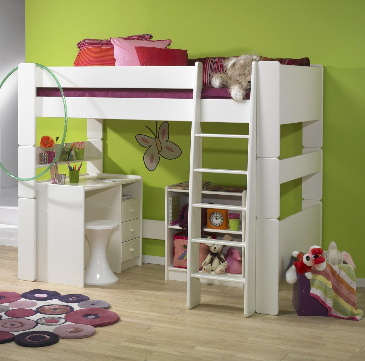 Kinderzimmer Set MDF weiß lackiert Hochbett Bett Schreibtisch Regal ...