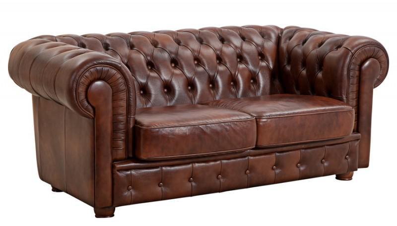 Sofa Couch Ledersofa 2 stizig Leder Wischleder vintage rot
