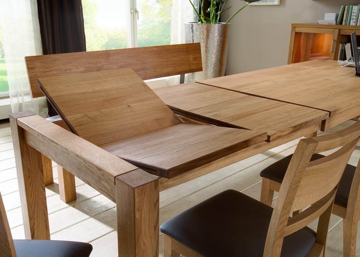 essgruppe tisch mit auszug st hle lederbezug esszimmer eiche massiv natur ge lt kaufen bei. Black Bedroom Furniture Sets. Home Design Ideas