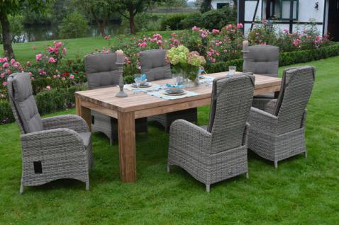 Gartengruppe Gartenmöbel Outdoor Garten-Set 7-teilig Teakholz Kunststoffrattan