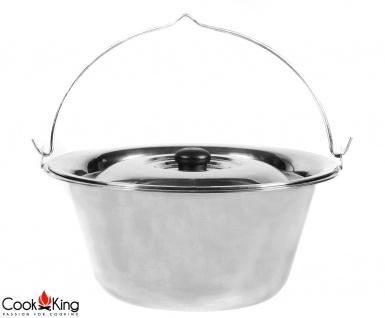 Edelstahlkessel mit Deckel Silber 10 l