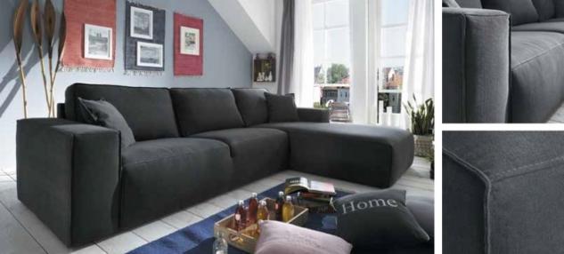 Ecksofa Sofa Couch Polstergruppe dark grey Textilsofa Nosag Federung
