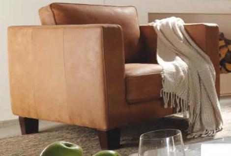 Sessel Leder walnuss Holzfüße dunkelbraun vintage Echtleder englisch Kedernaht - Vorschau