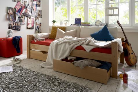 Schubladenbett Kinderbett Buche massiv Jugendbett Einzelbett mit Schubladen