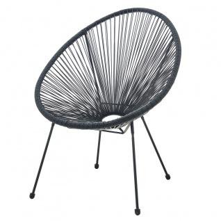 Stuhl runde Sitzschale 2er-Set Polyethylen Schwarz