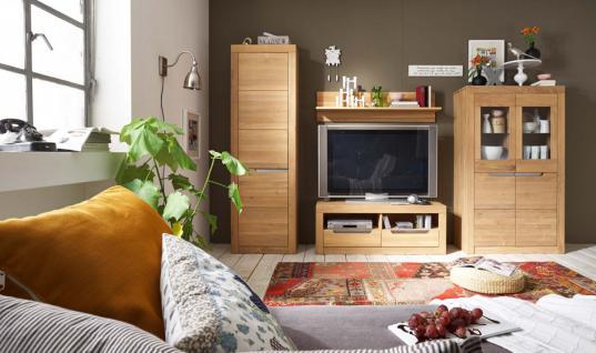 Wohnwand TV-Wand Wohnzimmerwand Kombi Wildeiche massiv geölt bianco