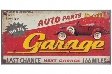 Metallschild Garage Mehrfarbig