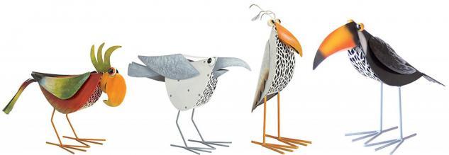 Metall-Gartenfiguren Dekofigur 4er Set Vögel Metallvögel Crazy Birds Gartendeko