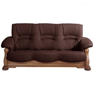 Tennessee Sofa 3-Sitzer Echtleder Burgund Eiche rustikal
