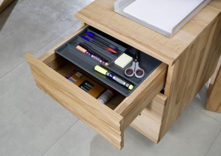 Schreibtisch mit Rollcontainer Büro Kernbuche massiv geölt made in Germany - Vorschau 2
