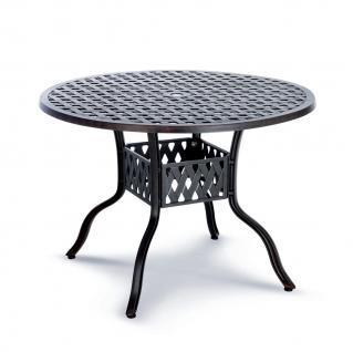 Rundtisch Tisch rund Alu-Guss massiv Aluminium bronce weiß Gartentisch Terrasse