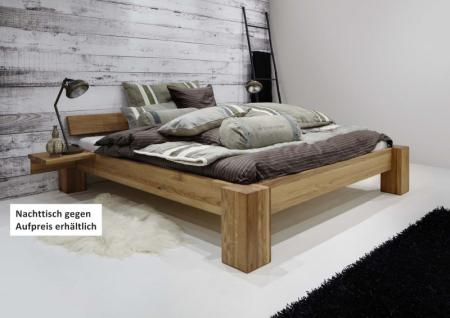 kompaktes Bett Doppelbett massive Eiche Überlänge vollmassiv rustikal - Vorschau 2
