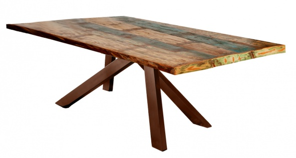 TABLES&Co Tisch 160x85 Altholz Bunt Metall Braun