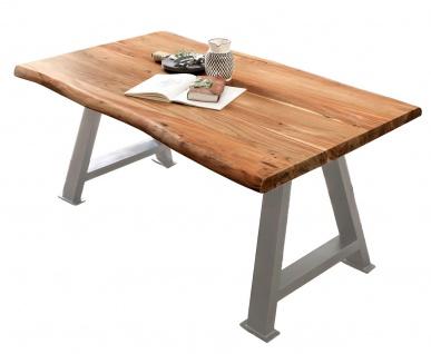 TABLES&CO Tisch 180x90 Akazie Natur Metall Silber