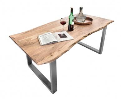 TISCHE&BÄNKE Tisch 200x100 Akazie Metall Natur Antiksilber