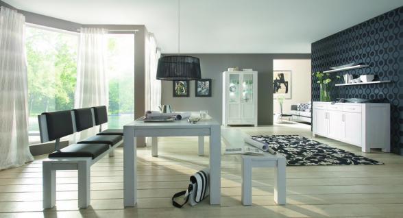 Wohnzimmer Esszimmer Wohnraum Kompletteinrichtung Eiche massiv geölt satin weiß - Vorschau 1