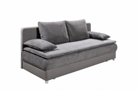 Schlafsofa Sofa Couch mit Schlaffunktion Bettsofa Bettfunktion Stoff grau